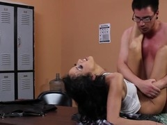 Breanne Benson rides that chubby knob hard in the back office!