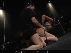 This mini slut has consummate boobs for squeezing and hurt 'em in all action. Her wazoo got a bit red after baring dozen of whips and slaps and the sexy wax managed to dominated her absolutely