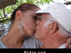 What a desirous old stud would not want to be fucked by engulf a pretty youthful cutie. Angel Rivas knows how to satisfy the dicks and can't live without being wazoo nailed by 'em.  Two old knob for a youthful cute booty here