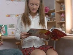 Charming amateur chick in sexy college uniform starts playing with the sex toy toy. To the pont of time when dude comes to her place that babe is ready for fuck.