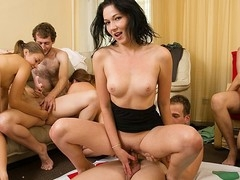 Lascivious students adore hawt celebrations. They strip and plunge into raunchy group fuckfest in sexy student sex party movie.